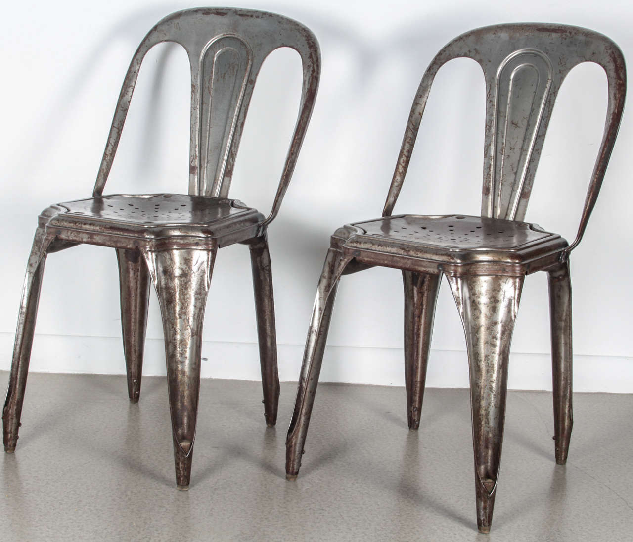 Beau Set Of Four Vintage Metal Tolix Chairs. These Are Not Reproductions. The  Chairs Have