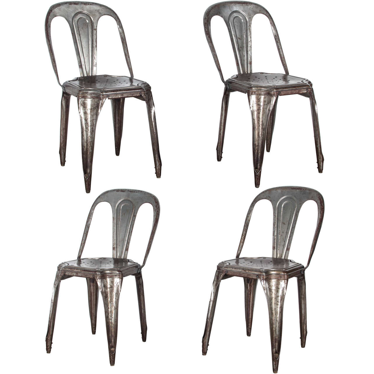 set of four metal stacking chairs by tolix for sale at 1stdibs