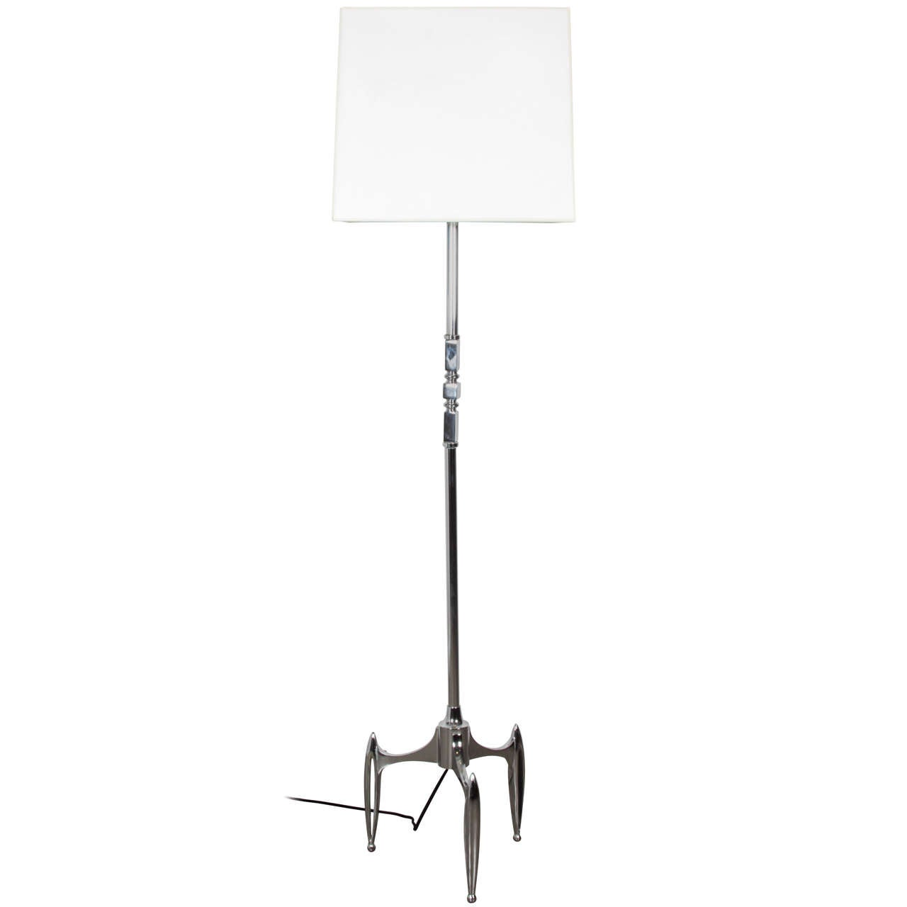 French 1950s Chrome-Plated Floor Lamp