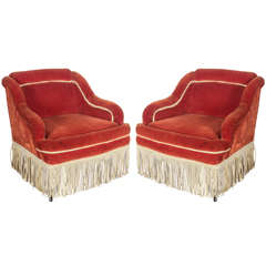 Pair French Armchairs in Orange Velvet