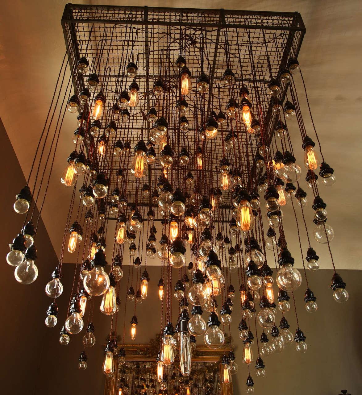 bulb industrial chandelier at stdibs -  bulb industrial chandelier