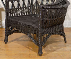 Antique American Wicker Wing Chair with Magazine Pocket image 4