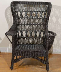 Antique American Wicker Wing Chair with Magazine Pocket image 6