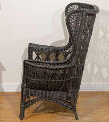 Antique American Wicker Wing Chair with Magazine Pocket image 7