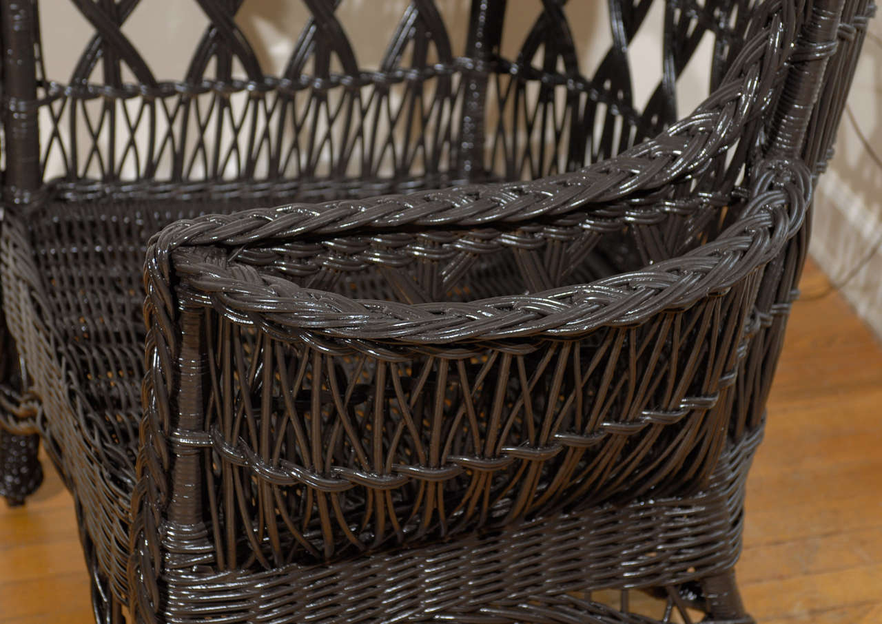 Antique American Wicker Wing Chair with Magazine Pocket For Sale 5