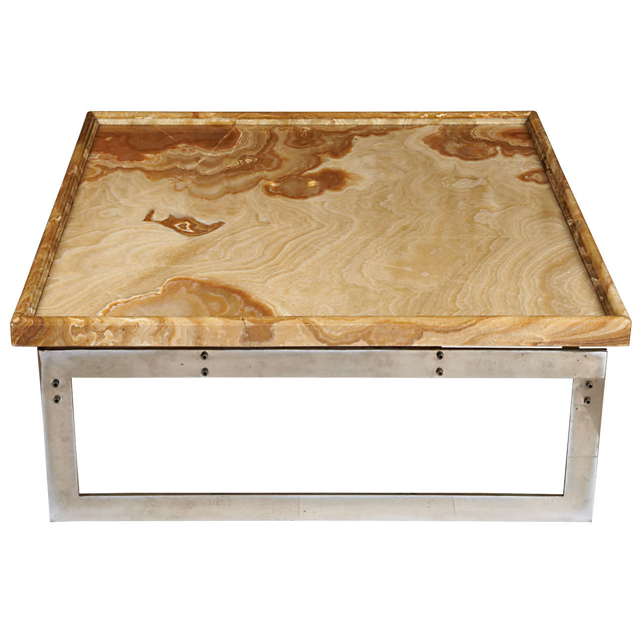Squared Coffee Table With A Marble Top For Sale At 1stdibs