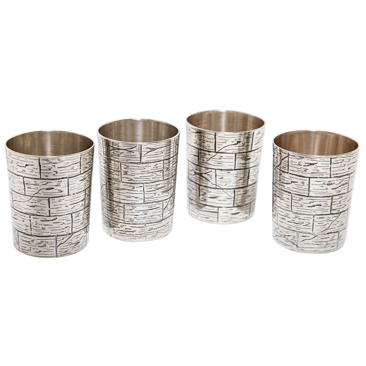 Set Of Four Silver Faux Bois Shot Cups At 1stdibs