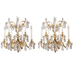 A   Fine Pair of Gilt-bronze and Rock Crystal Wall Lights