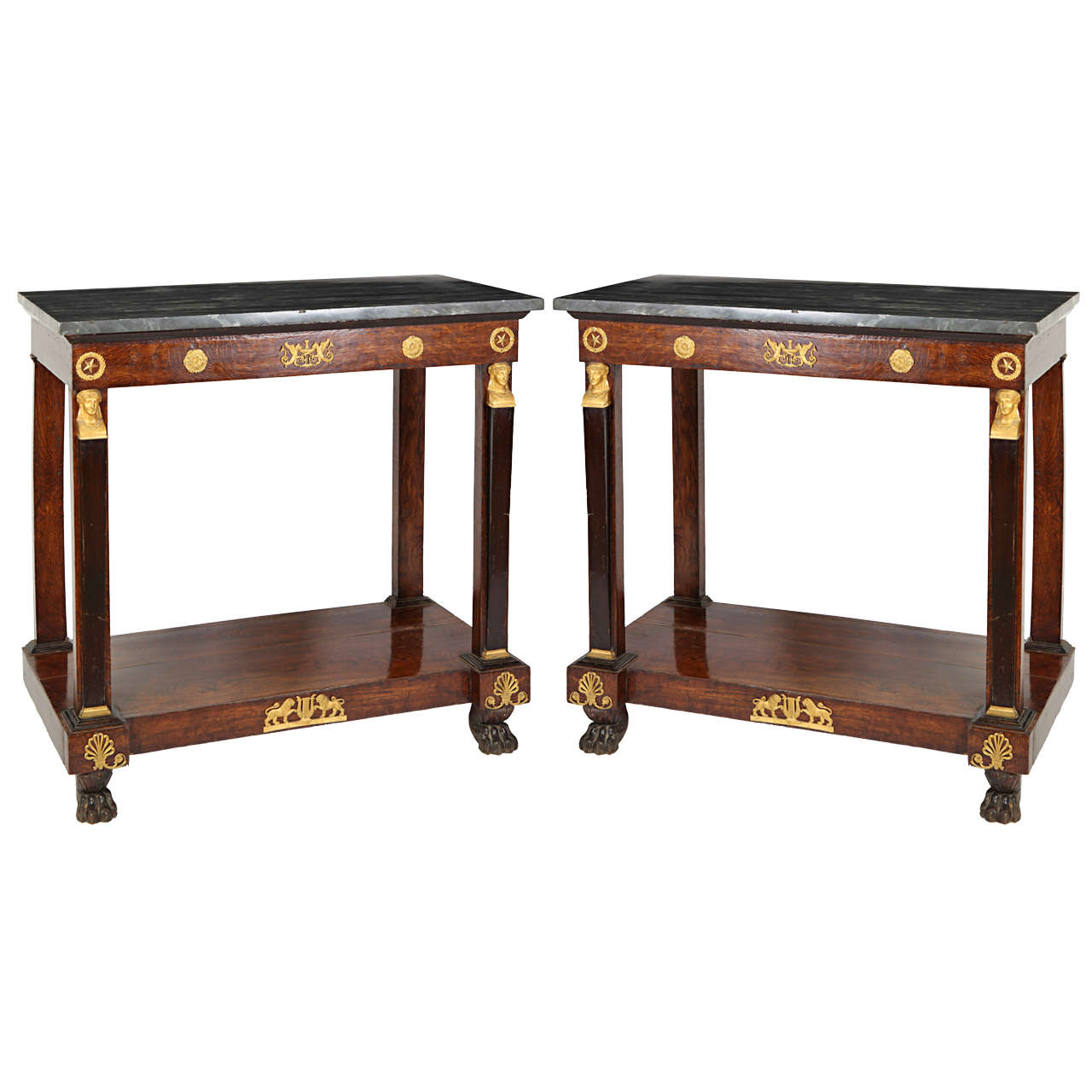 Pair of French Empire Consoles Tables