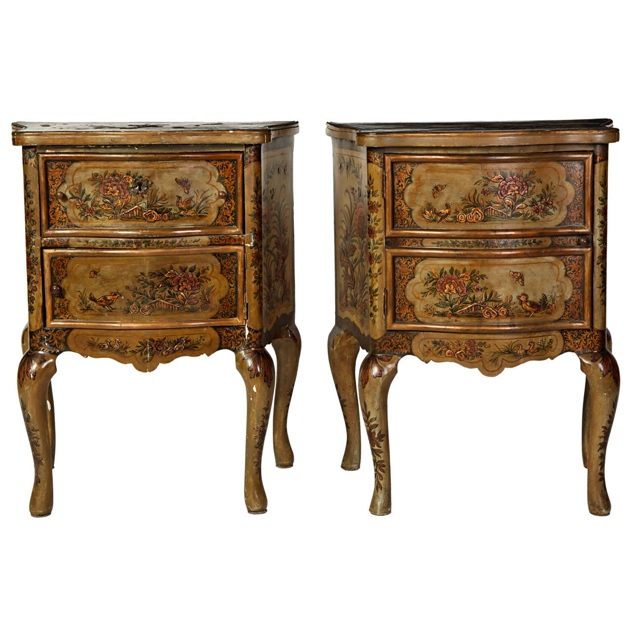 Pair of Small Italian Lacquered Commodes 19' century For Sale