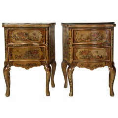 Pair of Small Italian Lacquered Commodes 19' century