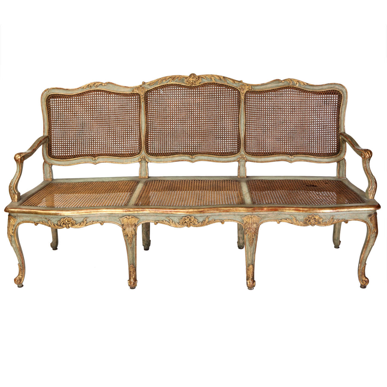 Fine Italian 18th Century Parcel-Gilt and Painted Canape