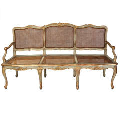 A Fine Italian 18th C. Parcel-Gilt and Painted Canape