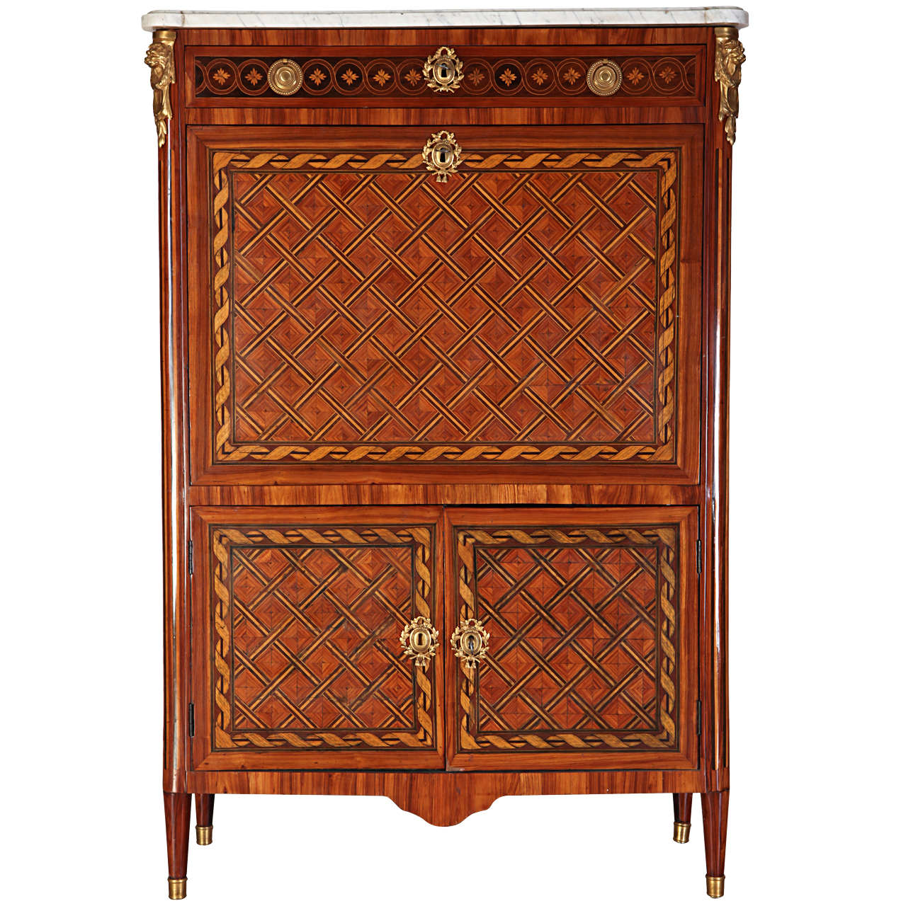 Fine French Ormolu-Mounted Marqueterie Secretaire Abattant