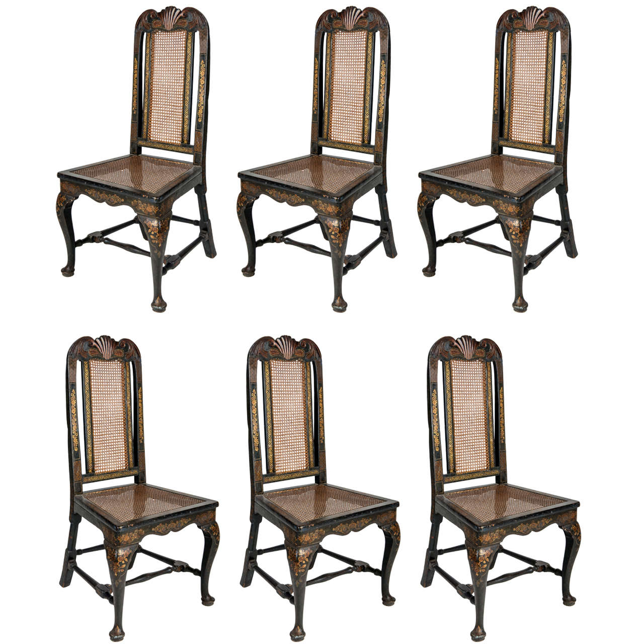 Set of 18th Century George II Blue Wood English Chairs, 1750 For Sale
