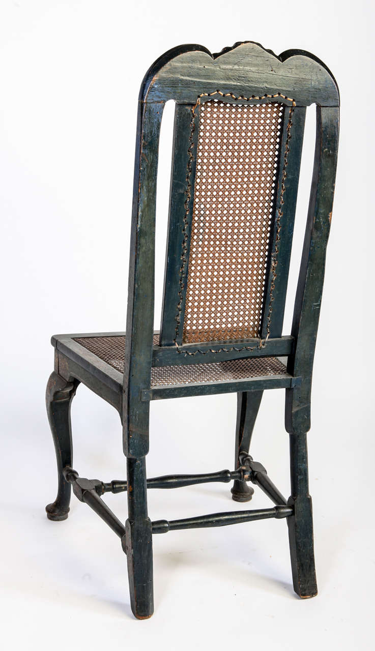 Set of 18th Century George II Blue Wood English Chairs, 1750 In Good Condition For Sale In Rome, IT