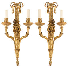 Pair of French, 18th Century Louis XVI Ormolu Two-Arm Sconces