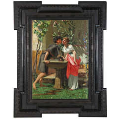 Lovers by a Fountain, Painting Oil on Canvas