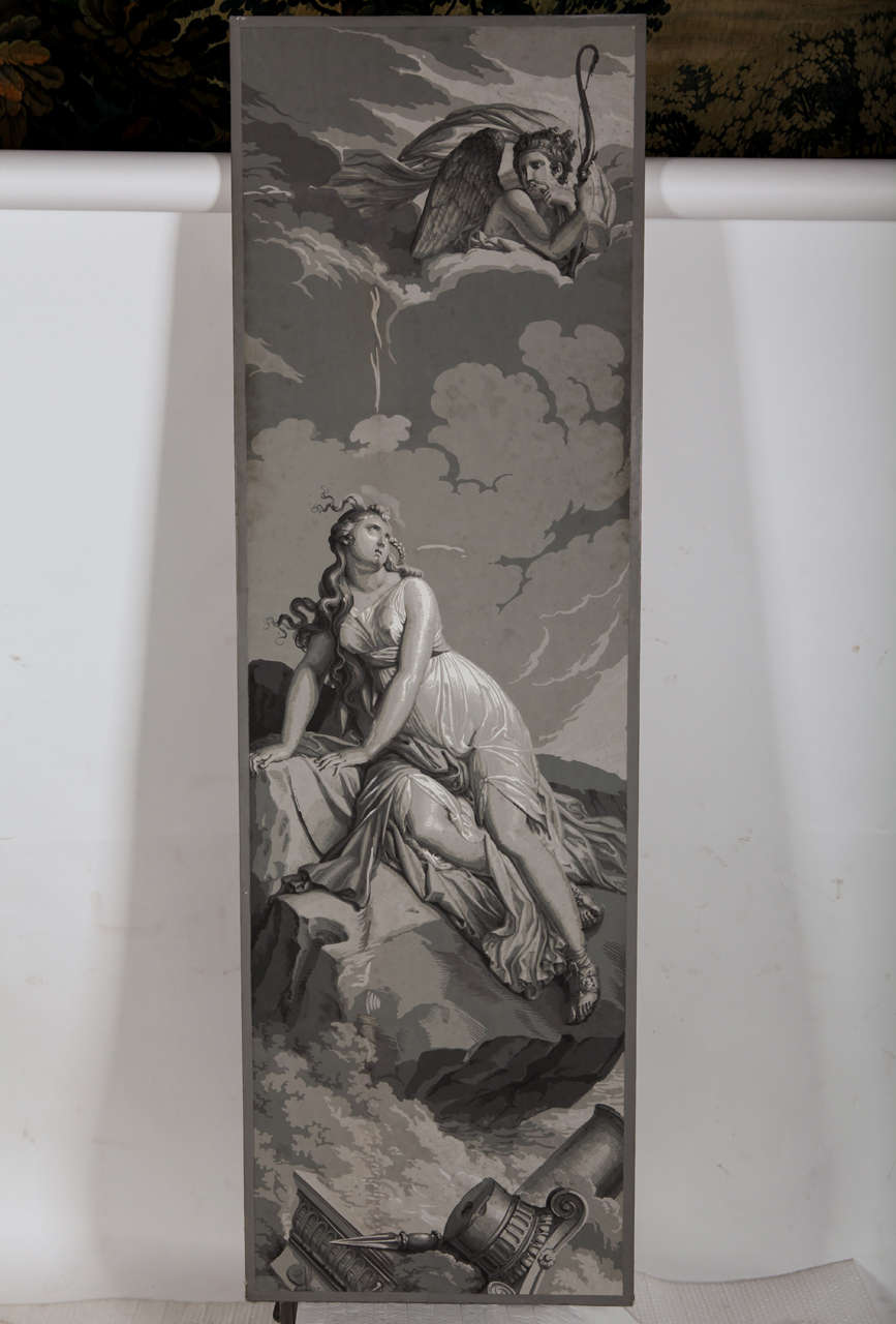 Four Papiers Peints 'En Grisaille' from the Psyche´ series manufactured by Dufour, Paris, after designs by Merry-Joseph Blondel and Louis Lafitte. -'Psyche´ returning from hades.' -'Psyche`'s parents consult the oracle of Apollo.' -'Psyche´