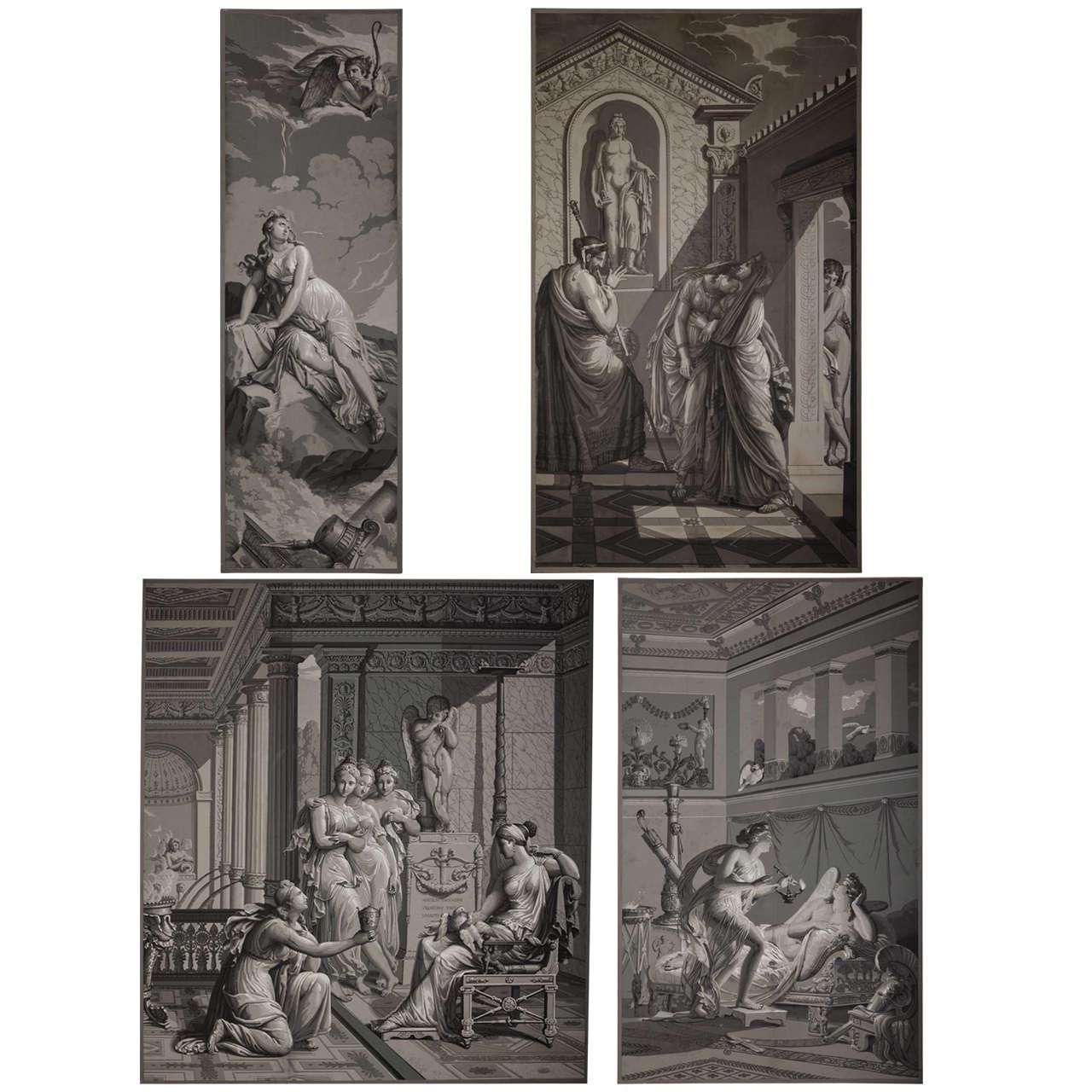 four papiers peints 39 en grisaille 39 by dufour paris for. Black Bedroom Furniture Sets. Home Design Ideas