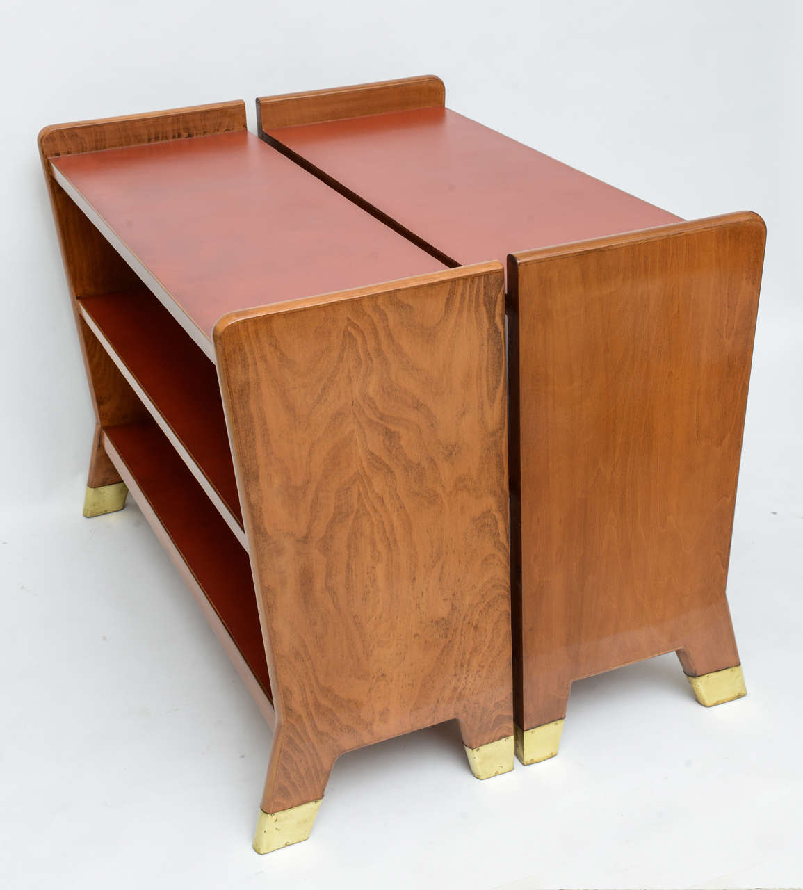 Mid-20th Century Fine Gio Ponti Fruitwood and Leather Dwarf Bookcase For Sale