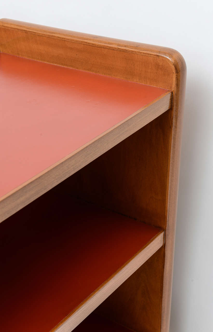 Wood Fine Gio Ponti Fruitwood and Leather Dwarf Bookcase For Sale