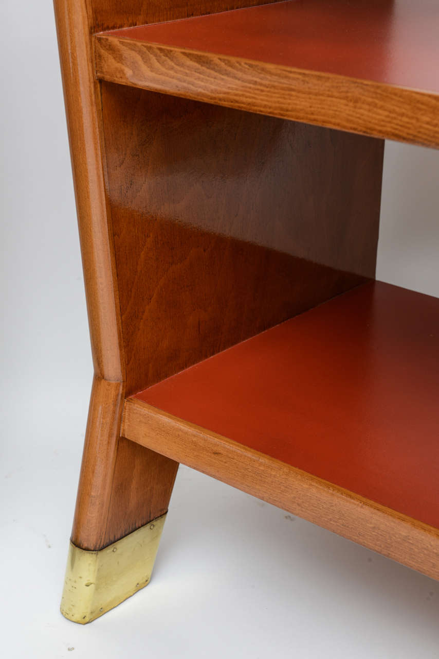 Fine Gio Ponti Fruitwood and Leather Dwarf Bookcase For Sale 2