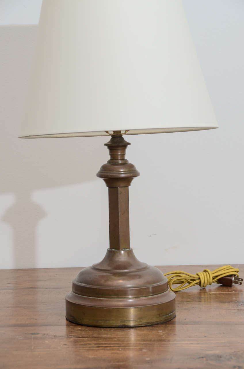 Brass Candlestick Converted into Lamp In Good Condition For Sale In New York City, NY
