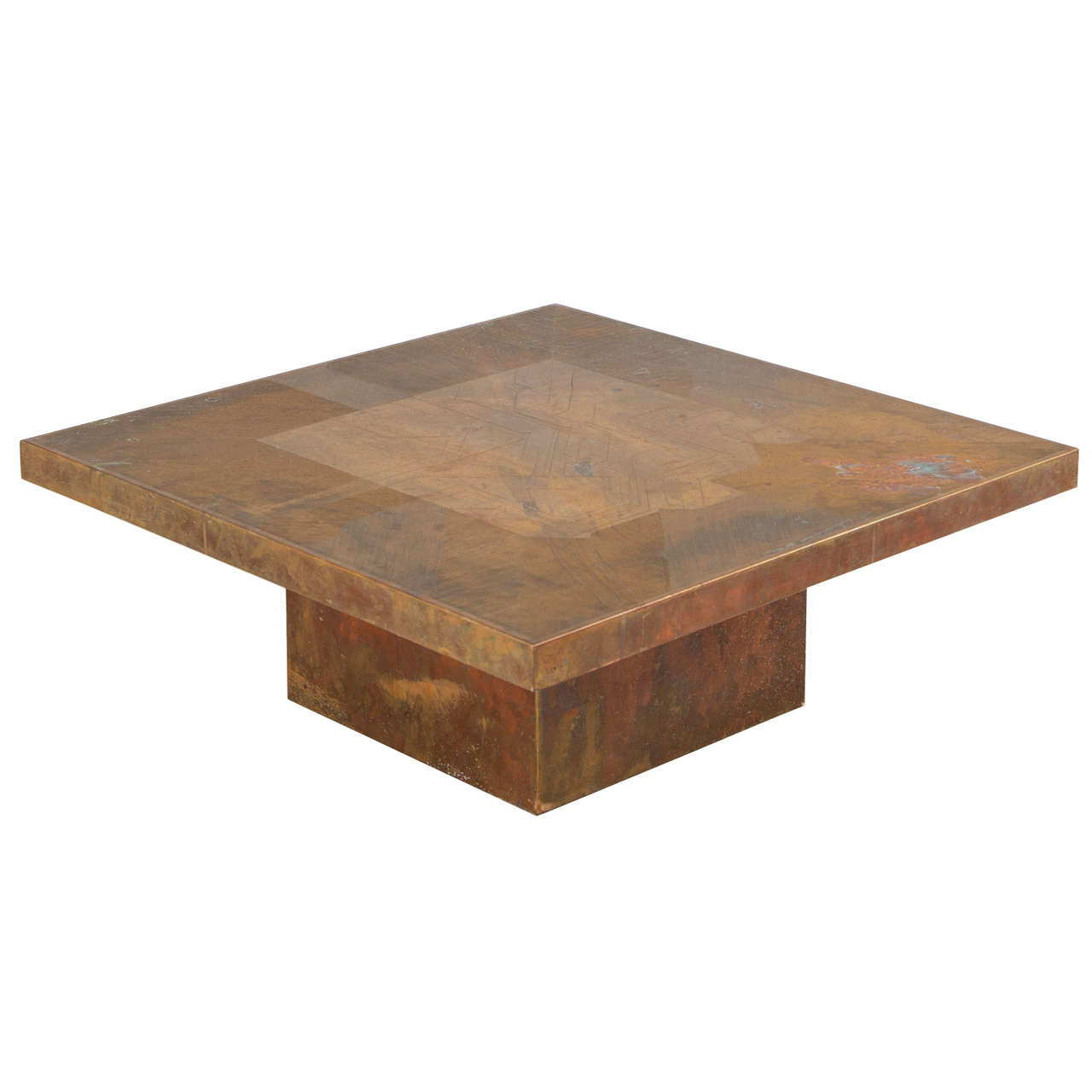Copper Coffee Table With Futuristic Pattern At 1stdibs