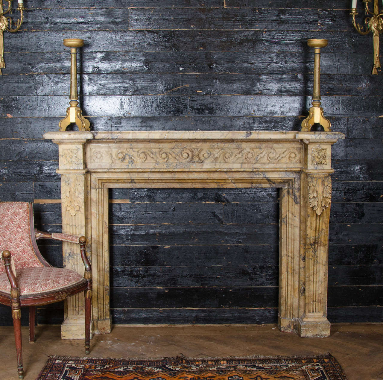 antique louis xvi sienna marble fireplace surround at 1stdibs