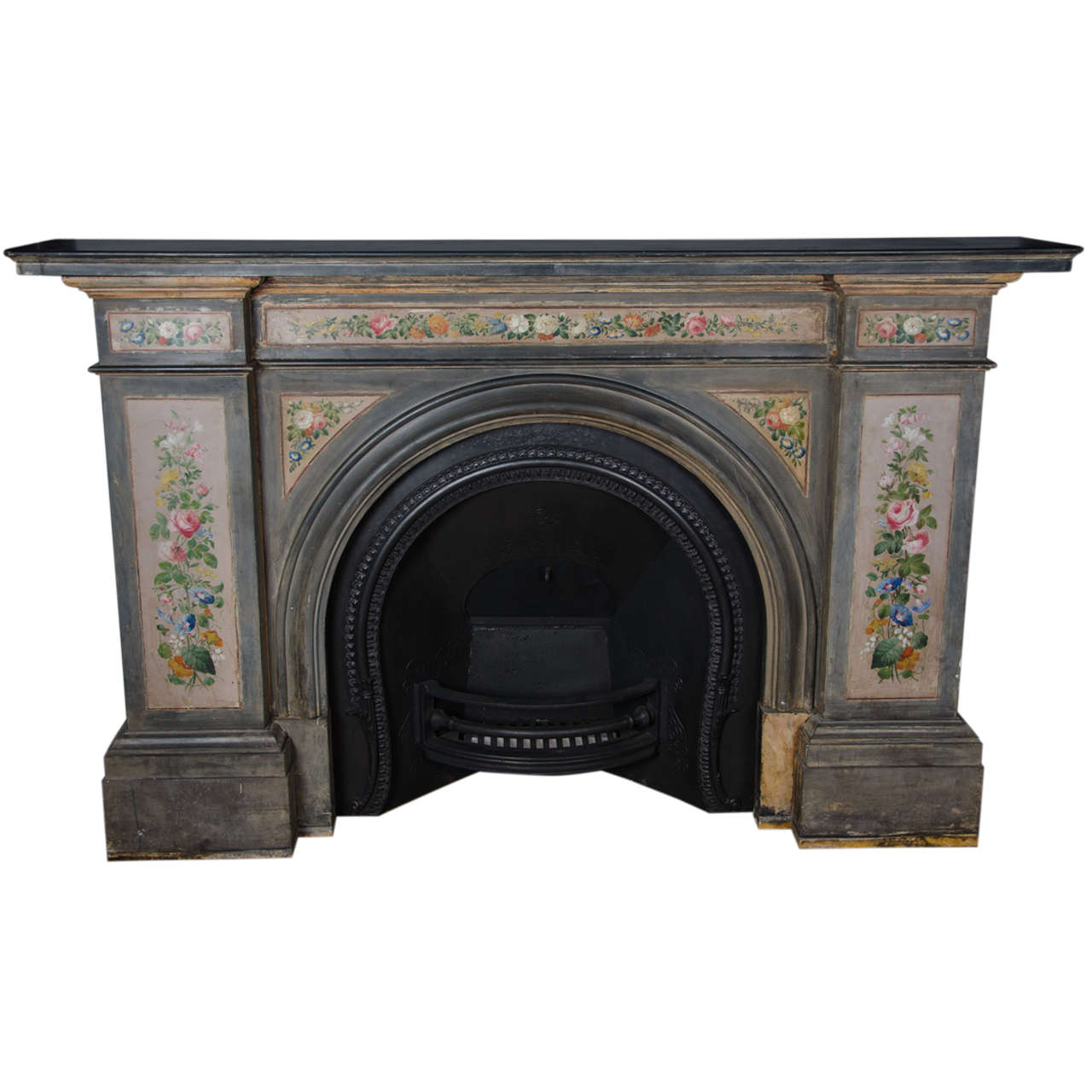 antique early victorian hand painted slate arched fireplace surround and insert at 1stdibs. Black Bedroom Furniture Sets. Home Design Ideas
