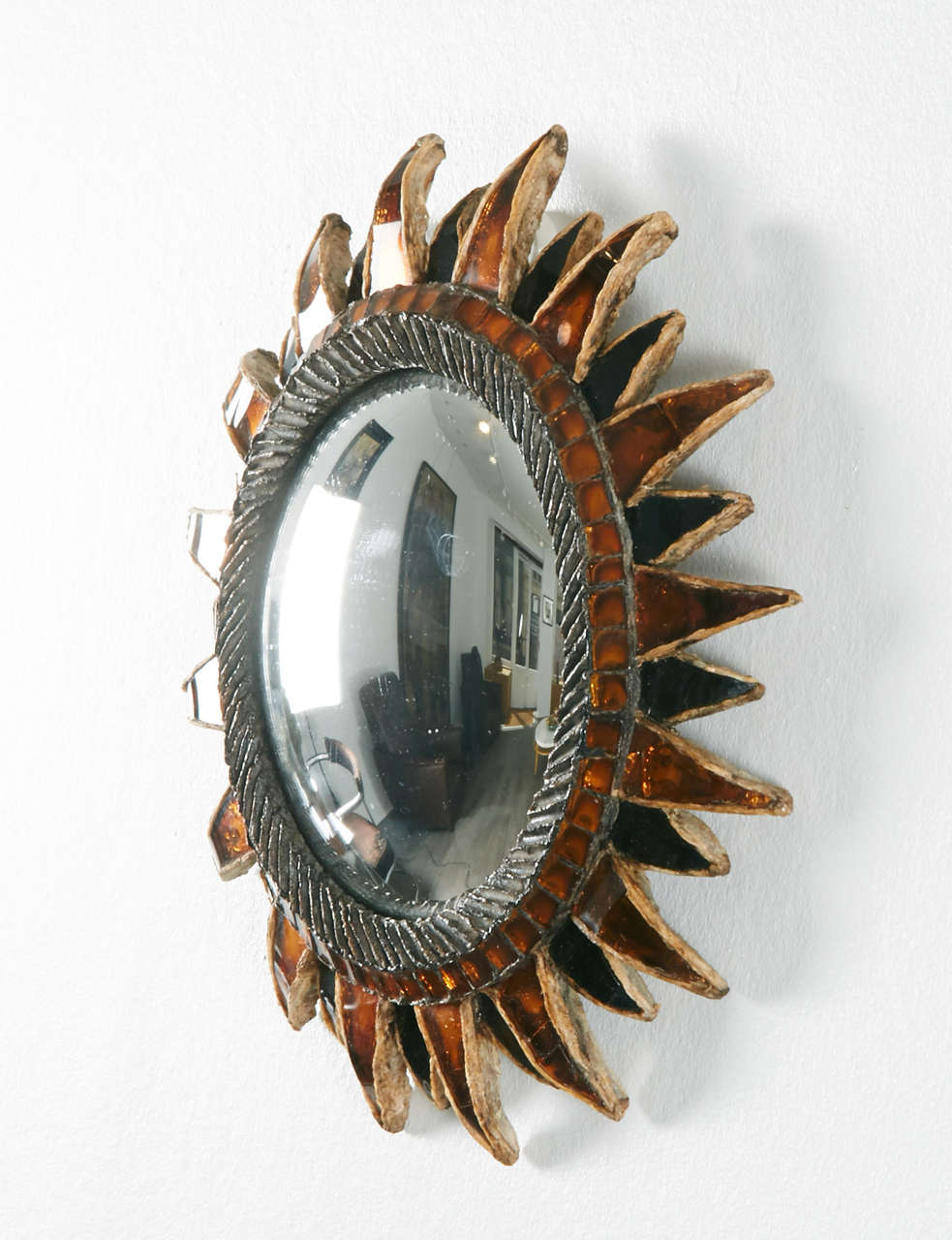 Mirror with orange and black talosel resin Signed. Made in France and Line Vautrin on the reverse.