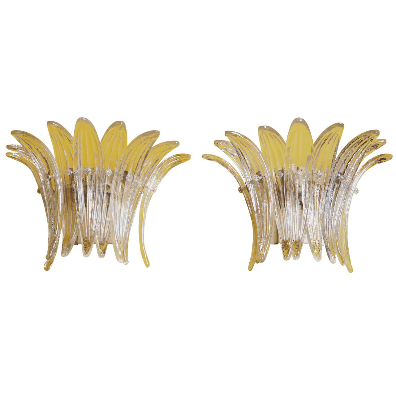 Pair Of Murano Glass Feather Form Sconces Circa 1970 At