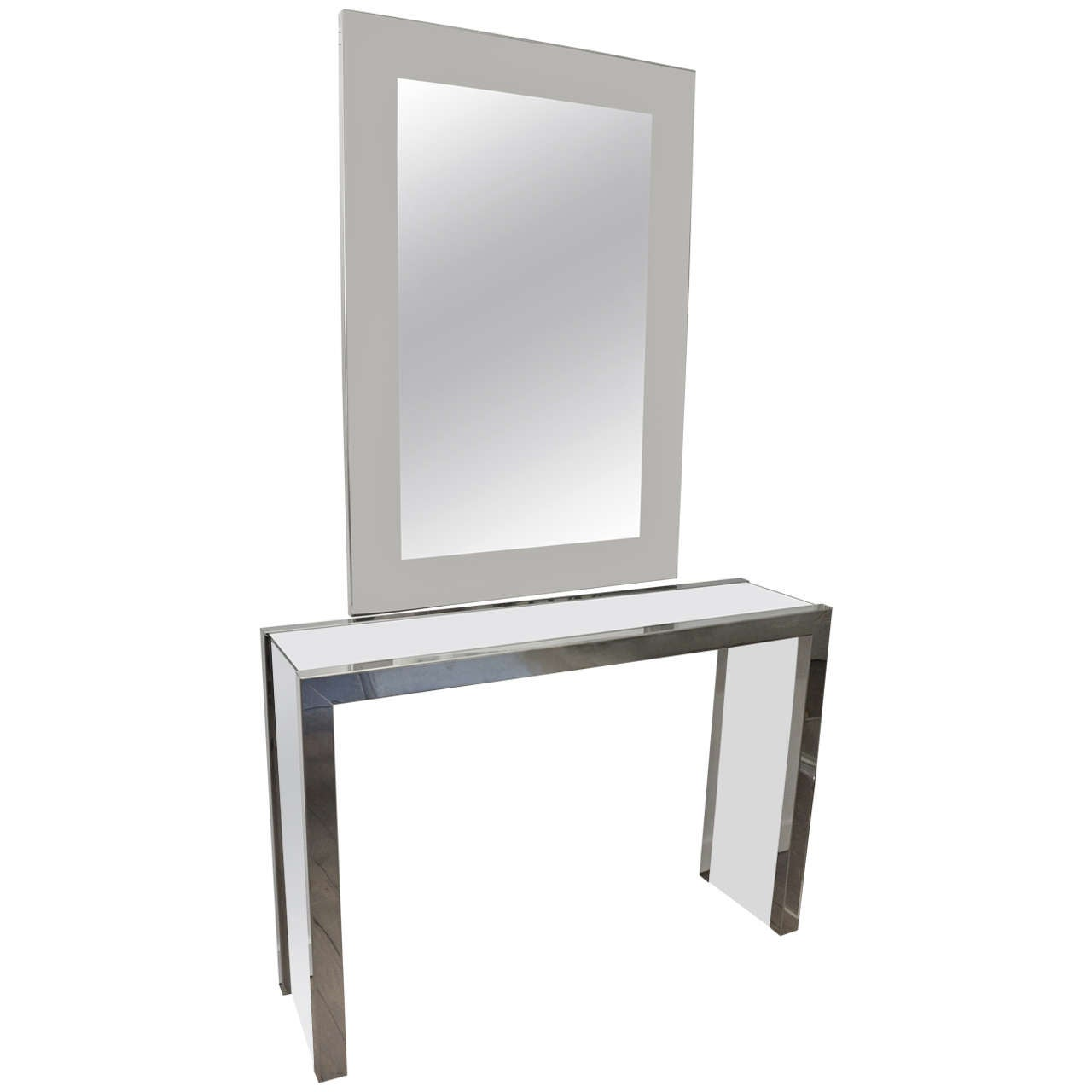Chrome Glass Top Console Table With White Lacquer Details