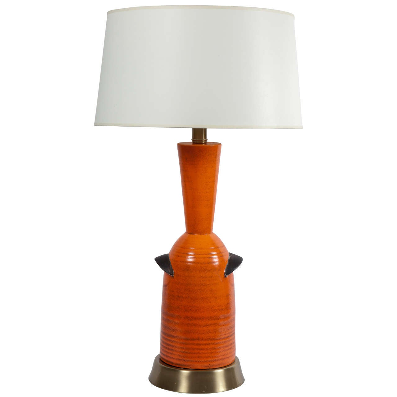 Orange Pottery Table Lamp by Raymor