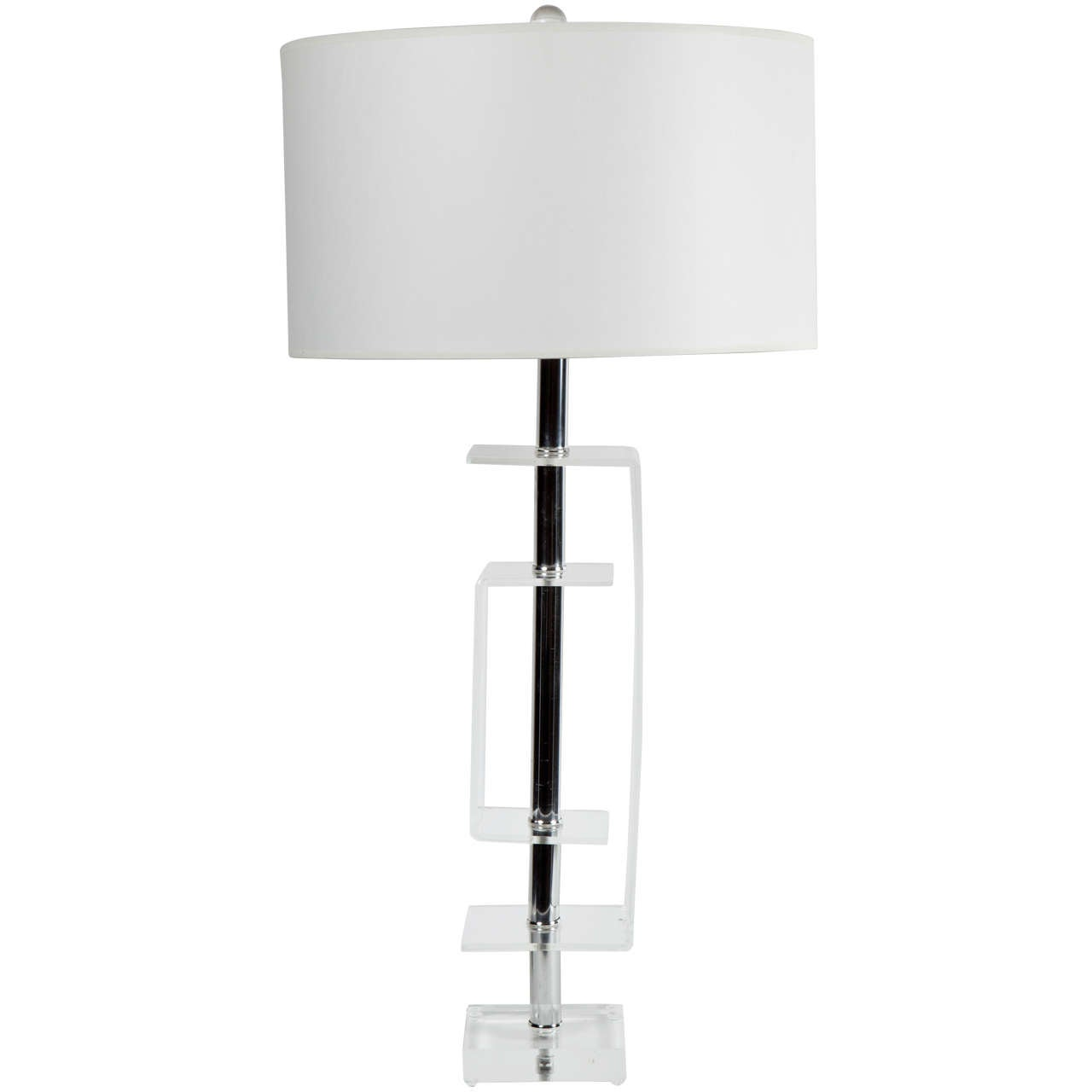 1970s Lucite and Chrome Table Lamp