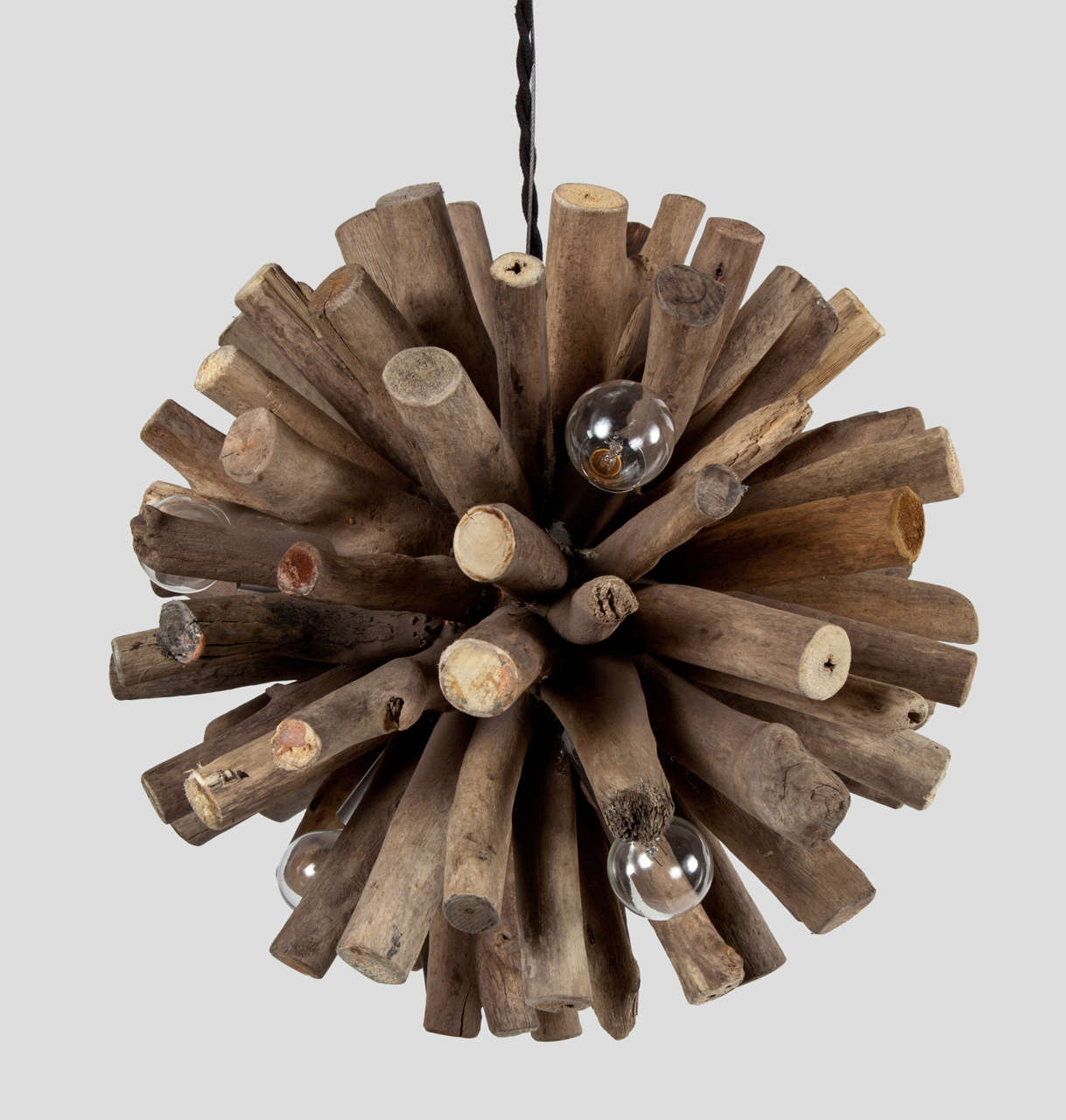 Rustic Moden Spherical Wood Chandelier At 1stdibs