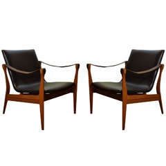 Pair of Safari Chairs by Karen and Ebbe Clemmensen in Black Leather