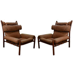 "Pair of Midcentury Arne Norell ""Inca"" Chairs in Original Leather"