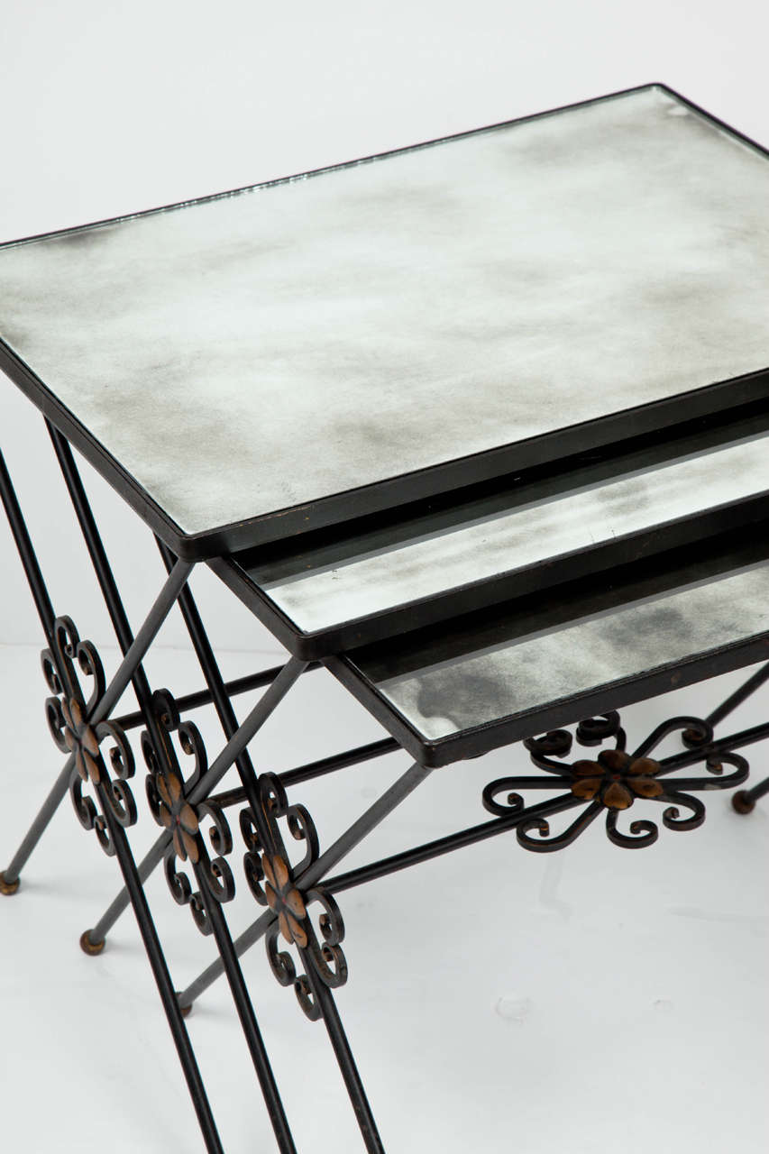 Modern French Wrought Iron Nesting Tables For Sale