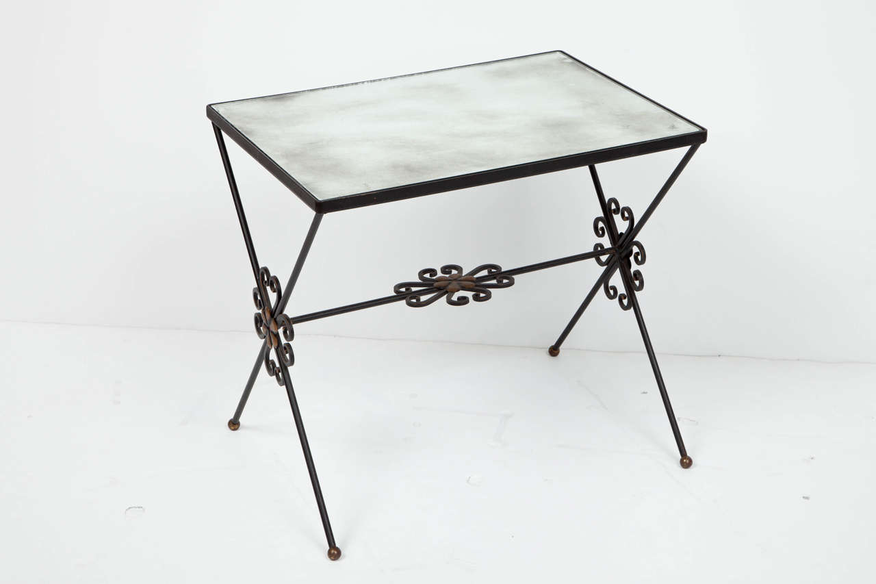 Mirror French Wrought Iron Nesting Tables For Sale
