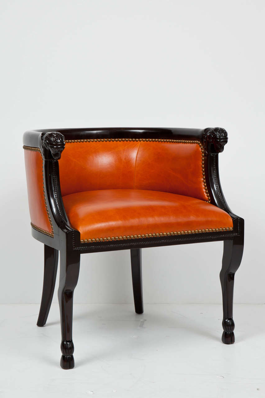 Neoclassical Carved Ram's Head Club Chairs 2