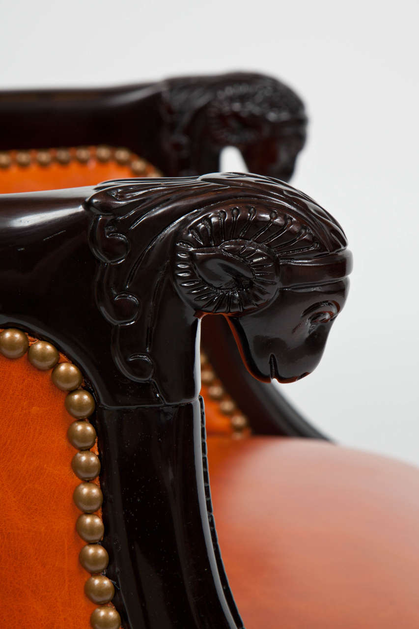 Neoclassical Carved Ram's Head Club Chairs 7