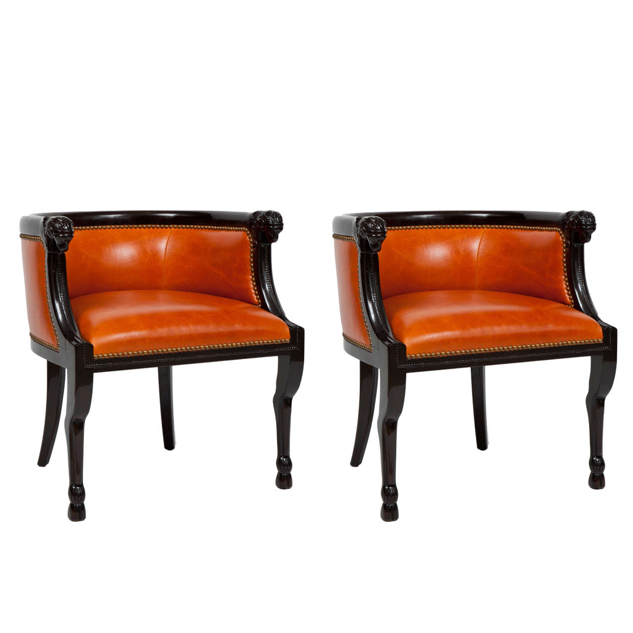 Neoclassical Carved Ram's Head Club Chairs 1
