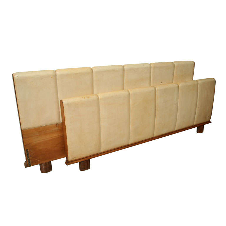 An Italian Modern Parchment and Pearwood Bed by Borsani