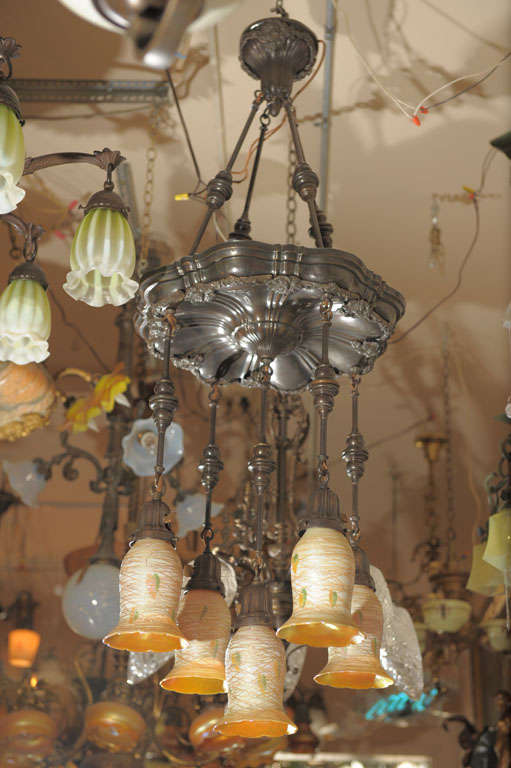 Five arm chandelier quezal heart and vine shades for sale at 1stdibs this chandelier hangs so gracefully it will make an entryway or dining room come to life aloadofball Image collections