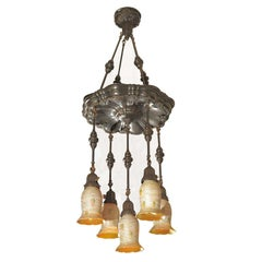 Five-Arm Chandelier, Quezal Heart and Vine Shades