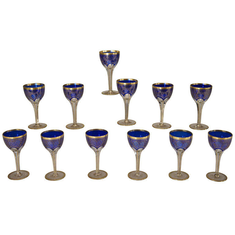 12 Bohemian / Moser Cobalt Cut to Clear Wine Goblets with Gold Enamel