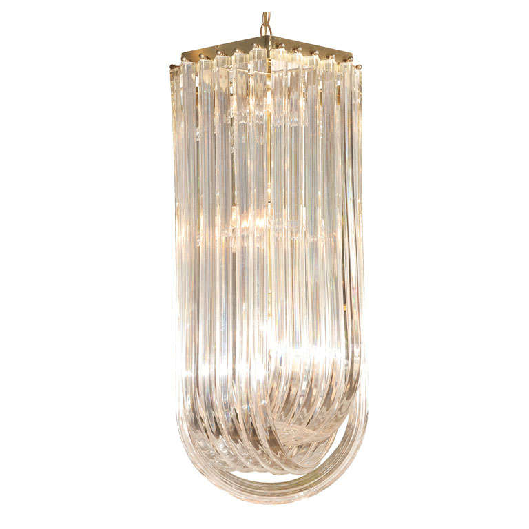 Tiered Lucite Ribbon Chandelier at 1stdibs