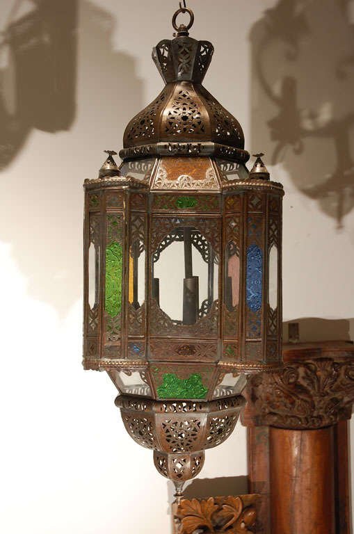 Very Nice Handcrafted Moroccan Gl Pendant This Multi Color Moorish Style Lantern Is